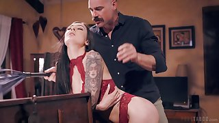 Older gent gets ripsnorting excepting of young brunette beauty Marley Brinx