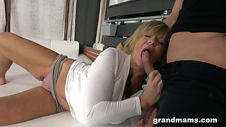 Hot guy enjoys fucking sexy granny with massive boobs and plump ass