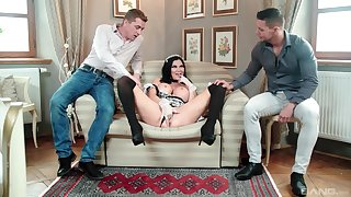 MILF in maid uniform tempted wits screwing in threesome scenes
