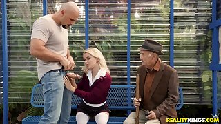 Blonde slut Riley Star fucked in public and she loves it