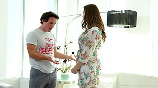 Stepson is creativity super sexy stepmom Chanel Preston alongside hammer away shower