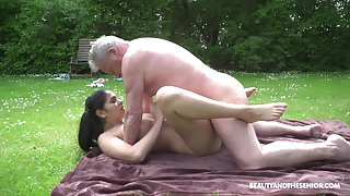 This hot young and age-old adventure comes to an end when he cums on their way tits