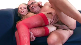 Skinny pretty good Cherry Ann in fishnet stockings rides an old cock