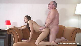 Unconventional old man fuck for young hottie Azure Angel
