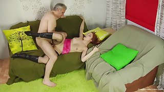 Older gent taps into a gung-ho redhead's bustling sexuality