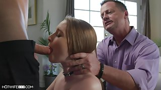 Several young guys fuck Laney Grey more front of her elderly husband